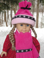 How to sew a fleece hat and scarf for an American girl doll.