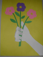 Mother's day craft for kids, a child's handprint holding a bouquet of flowers for mom!