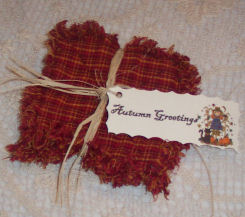 DIY tutorial for how to make homespun harvest raggedy coasters.