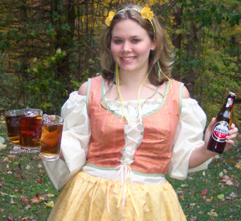 A handmade German barmaid costume similar to a renaissance pheasant costume.
