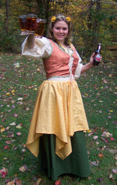 This German bar maid costume was sewing and put together by making a skirt, skirt over-lay, peasant blouse, and lace up corset.