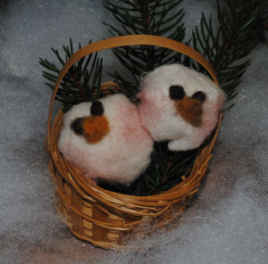 You can make these adorable little baby snow flakes in a basket ornament.