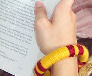 Learn how to turn an old plastic or wooden bracelet into a new yarn bangle bracelet.