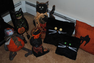 Here is part of my Handmade Halloween Black Cat collection!