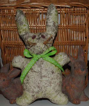 I used a paisley cream, green, and brown print to make this adorable little bunny.