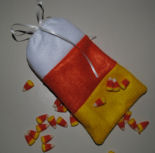 How to make a very easy to sew mini felt candy corn bag for Halloween treats.