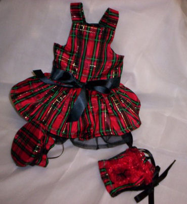 Here is Carino's little doggie Christmas dress that was designed and sewn just for her.