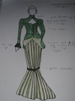 The costume design process. A costume designer designs (and sometimes makes) costumes for a film, stage, or television production.