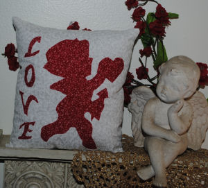 Free Valentine's day sewing pattern, cupid's silhouette pillow craft.
