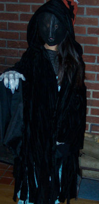 a handmade demontor costume that erika sewed after reading the harry potter books
