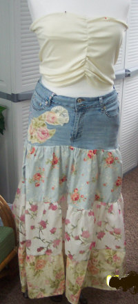 Easy to follow directions on how to sew a denim broom skirt from old jeans.