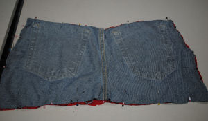 REcycle your old denim jeans into a new 4th of July easy to sew project.