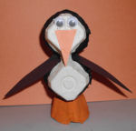 How to make an egg carton penguin arts and craft project for kids.