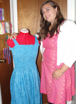 Emily's two dresses she sewed!