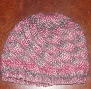 Knitted handmade hat.