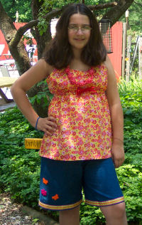 Samantha's outfit she designed and made at fashion design summer sewing camp.