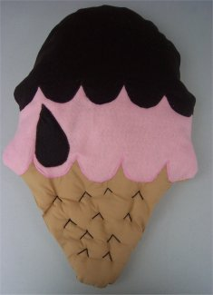 A big ice-cream pillow sewn from felt fabric.