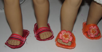 Designing & Sewing For An American Girl Doll, How to Sew Flip-Flops for an American Girl Doll