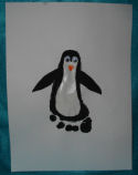 How to make a child's footprint into a penguin art.