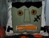 How to sew a zipper-mouth Frankenstein pillow for Halloween.