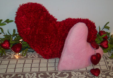 Valentine's day easy to sew project; big fur heart pillows.