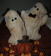 Free DIY Halloween directions for Abigail & Barnabas the friendly ghost couple made from quilt batting and cheese cloth.