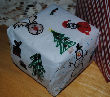 Turn your child's artwork into wrapping paper.