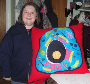 Hailey's school science project that she made, a sewn cell made into a pillow.