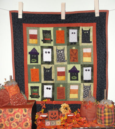 How to make a Halloween charactor quilt by machine applique.