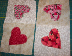 How to sew a country heart applique quilted candle mat.