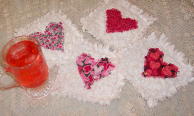 Learn how to sew Valentine raggedy heart coasters.
