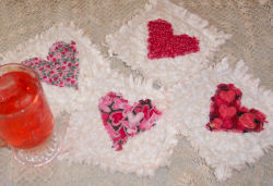 Cute raggedy heart coasters project.