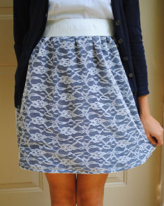 Free Skirt Tutorial - The High Waist Lace Over Thick Elastic Band ...