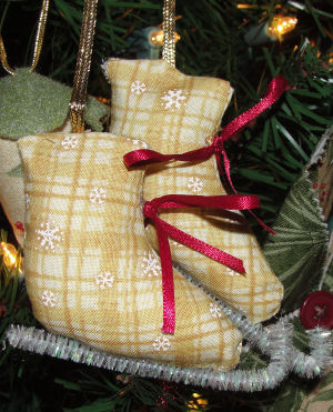 handmade christmas ornament of fabric iceskates - Ice Skating Christmas Ornaments