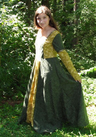 Jacquelyn sewed a beautiful emerald green and gold gown for the renaissance fair.