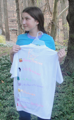 Here is the back of Jacquelyn's cell project for science class that she sewed onto a shirt.