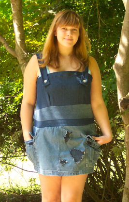 Heather makes a cute sundress from 2 pair of recycled old jeans in our project runway challenge and places 1st with her creation.