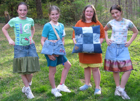 Learn to sew party and recycle your old denim jeans.