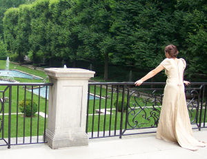 Here is the back of Jessica's Jane Austin gown she sewed for an English Honor Society affair.