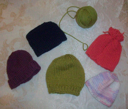 Precious little knitted preemie hats...