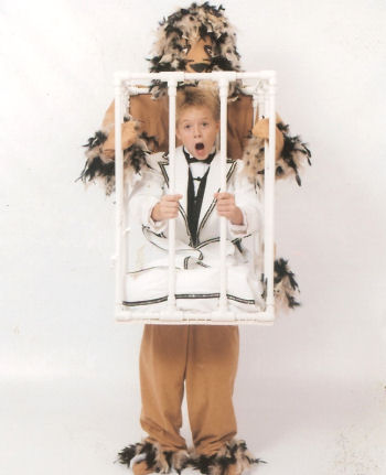 here is an excellent handmade halloween costume of a lion holding a boy in a cage