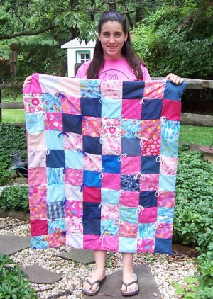 My 1st Quilt in shades of blue and pink...how pretty!