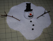 Melted snowman craft project for kids.