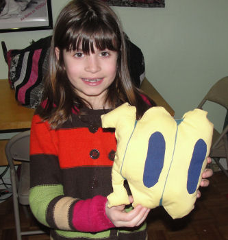Morgan sewed the number 100 for her school project where students had to bring in something to represent the 100th day of school.