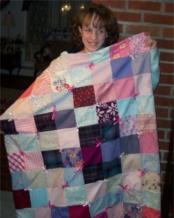 Morgan makes her first quilt.