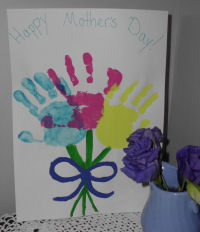 A handmade card for Mother's day, a handprint bouquet of flowers card for mom.