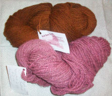 Natural wool yarn dyed from berries.