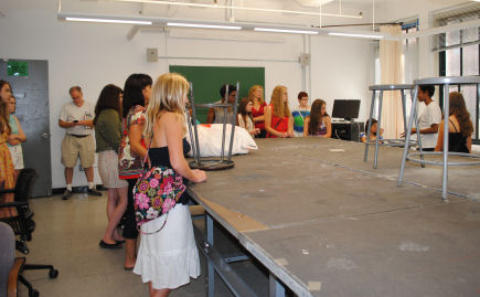 Young fashion designers tour Parsons New School from Love to Sew Studio in Chadds Ford, Pennsylvania.