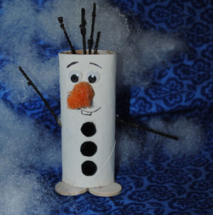 Cute olaf craft made from a painted toilet paper roll, winter craft for kids.