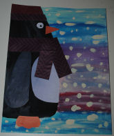 How to make an art project of a winter scene with a penguin collage mixed media.